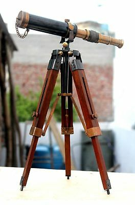 Royal Navy Solid Brass Telescope With Stand Vintage Nautical Maritime Scope