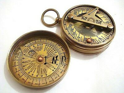 Brass Pocket Sundial Compass w/ Lid ~ Antique Finish ~ Nautical Maritime Compass