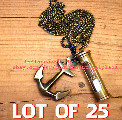 LOT OF 25 Pc Nautical Jewellery Sand Timer hour & Anchor Antique Necklace Gift