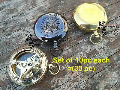 Nautical Maritime Solid Brass Push Button Pocket Dalvey Compass Set of 30 Pc
