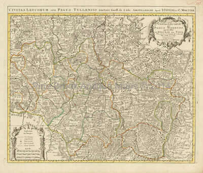 Verdun Metz Nancy France Vintage Map Covens Mortier 1745 Original