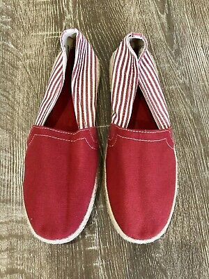 c5fc866d23eae1 Womens Report Red   White Striped Canvas Espadrille Flats Size 10