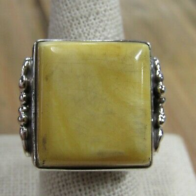 Vintage Sterling Silver Butter Scotch Amber Statement Ring