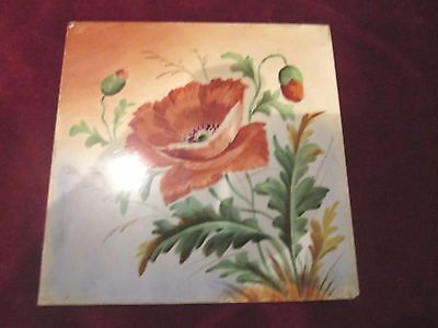 Old Decorative Floral Poppy Tile