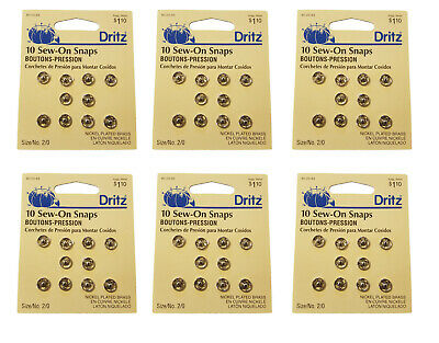 6 Packs of 10 VTG Dritz Sewing Sew-On Snaps Nickel Plated Brass Size/No. 2/0