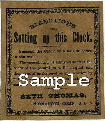 2, EXACT COPYS OF SETH THOMAS WALL CLOCK LABELS Ca. 1895