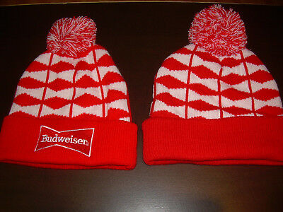 dfd01e930 BUDWEISER KNIT BEANIE Hat Cap With Pom Pom Red White Blue Adult One ...