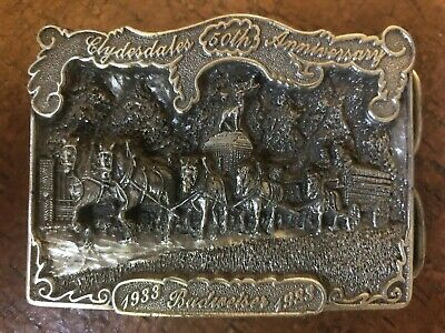 Vintage Budweiser Clydesdales 50th Anniversary Limited Edition 3438 belt Buckle
