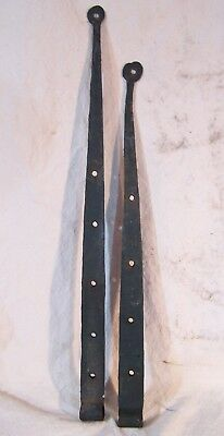 Antique Hand Forged Pair of STRAP HINGES Pin/Pintle Barn Shed House Door LONG
