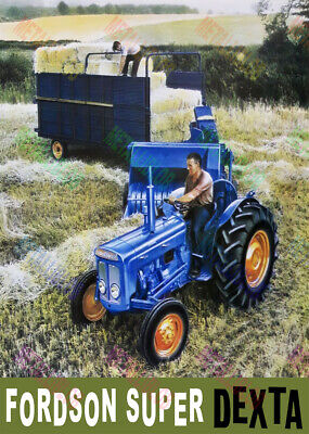 Fordson Super Dexta Straw Bale Collecting Print / Poster (3 for 2 offer)