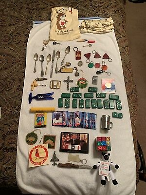 JUNK DRAWER BOX: Keychains; toys, Woman PJs; baseball cards; vintage dominoes ++