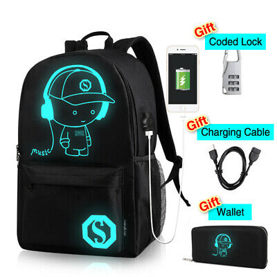 Glows at Night Luminous Anti-Theft Backpack USB Charger Shoulder Bag College Bag