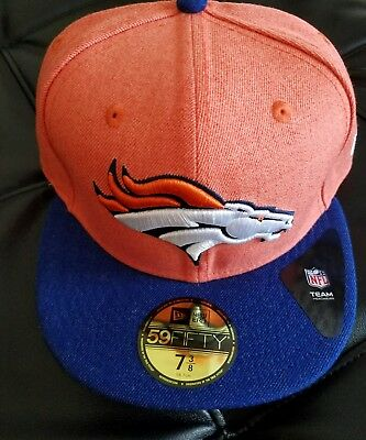 New Era Denver Broncos 5950 Fitted Hat NFL Team Navy Orange 2Tone Color Cap