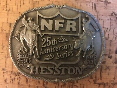 Vintage 1983 NFR 25th Anniversary Series Hesston First Edition Belt Buckle.