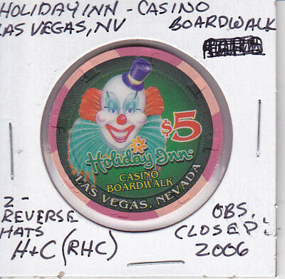 $5 Casino Chip Holiday Inn Casino Boardwalk Obsolete H & C (Rhc) 2 Reverse Canes