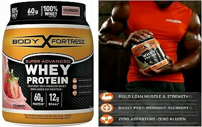 Mass Gainer Super Advanced Body Fortress Whey Protein Powder Strawberry 2 lbs