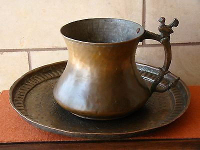 Antique Copper Handmade Islamic/Arabic/Persian Plate & Big Cup w/Bird on Handle