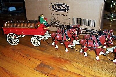 """Vintage Cast Iron Clydesdale Horses Pulling Wagon With Barrels Over 33"""" Long"""