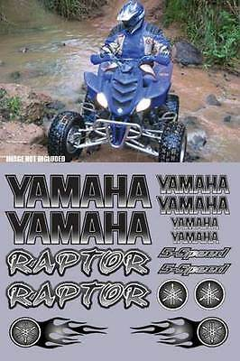 Yamaha Raptor Black Full Color 16pc Quad ATV Decals Graphics 660R, 350, 700