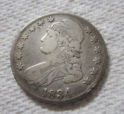 1834 Capped Bust Silver Half Dollar Lettered Edge Variety