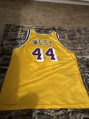 f710f1dc01f Vtg Jerry West Los Angeles Lakers Champion Jersey Gold Logo NBA Basketball  Sz 52