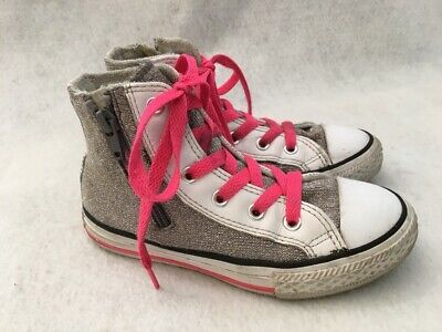 2f4dace91f2214 Converse All Stars High Top Shoes Silver Gray Pink Girls Youth Size 12