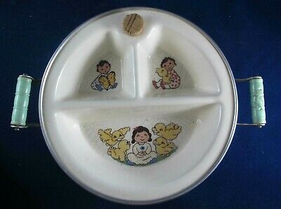 Original Vintage Excello Illustrated Baby / Child Divided Warming Dish- Bowl