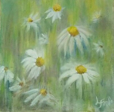 Daisies sun dance abstract soft color background flowers Floral art print