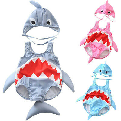 Toddler Kids Baby Girls Boys Cartoon Shark Swimsuit Bikini Swimwear Bathing Suit