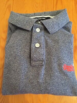 MENS SUPERDRY CLASSIC GRINDLE PIQUE POLO TOP IN NAVY GRIT (GREY REALLY) Size XL