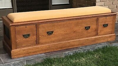 *Reduced* Fine Antique Oak timber chest drawers bench seat Edwardian Arts Crafts