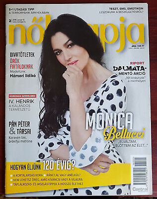 Monica Bellucci on front cover & article page Hungarian Magazine, January 2016.