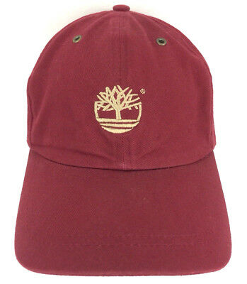 9a6bb23d Timberland Hat Logo Cap Strap Back Spell Out Baseball Trucker Dad Red  Burgundy