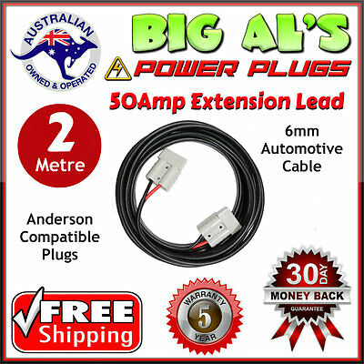 2m 50 Amp Anderson Plug Extension Lead 6mm Twin Core Automotive Cable Wire