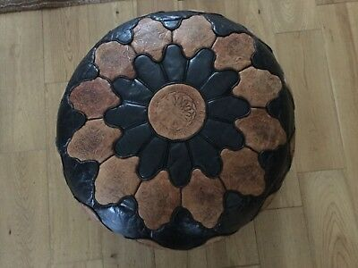 Egyptian  Pouffe Pouf Ottoman Footstool COVER. Genuine Natural Leather .
