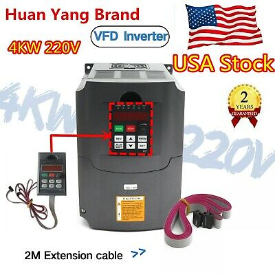 『USA』 HY 4000W 5HP 4KW 220V VFD Variable Frequency Drive Inverter Single/3 Phase