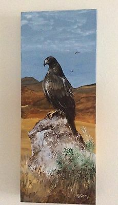 """GOLDEN EAGLE. ORIGINAL HAND PAINTED PAINTING ON CANVASS. 20x 8"""" 1 1/2"""" thick"""