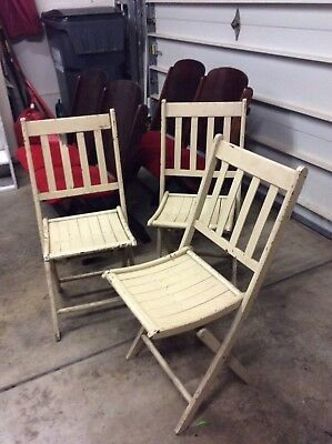 3 Same Antique / Vintage White Painted Slatted Wood Folding Chairs - Very Good