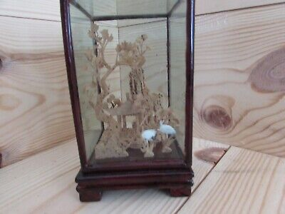 Japanese Folk Art Wood Art Hand Carved in Display Case
