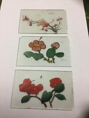 Three Vintage Chinese Hand Painted Frosted Glass Panels Inserts Chinese Lanterns