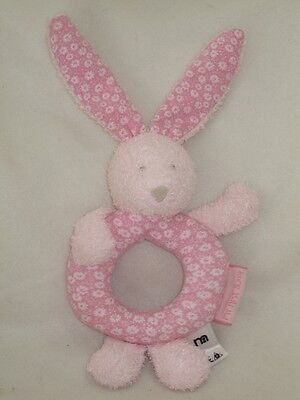 Mothercare My First Bunny Ring Rattle Plush Soft Toy Baby Comforter