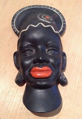 Vintage African Lady Head Wall Plaque Black Plaster Tretchikoff Style Nubian Art