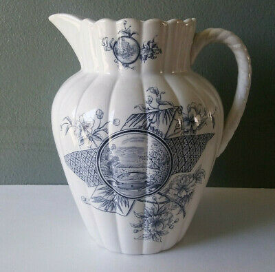 Antique Florence Aesthetic Period Transferware English Ironstone Wash Pitcher