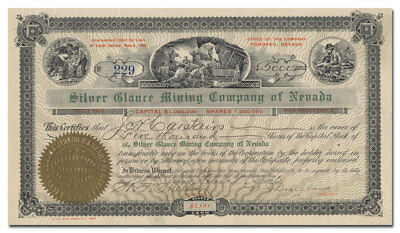Silver Glance Mining Company of Nevada Stock Certificate