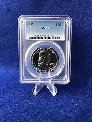 "1957 PROOF FRANKLIN SILVER HALF DOLLAR 50c *PCGS PR67 GEM PROOF* ""STUNNING"""