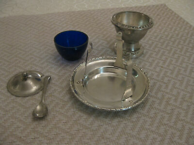 Rare vintage silver plated mustard pots with Holder/tray and spoon