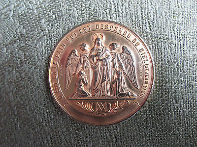 C19th French Gilt Bronze Religious Medal -- Baptism, Communion and Confirmation