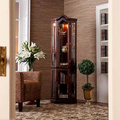 Brown Lighted Glass 5-Shelf Corner Curio Cabinet Furniture Display Home Living