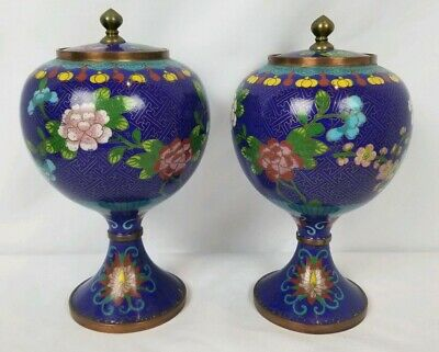 Rare Antique Late Qing Early Republic Cloisonne Lidded Urns