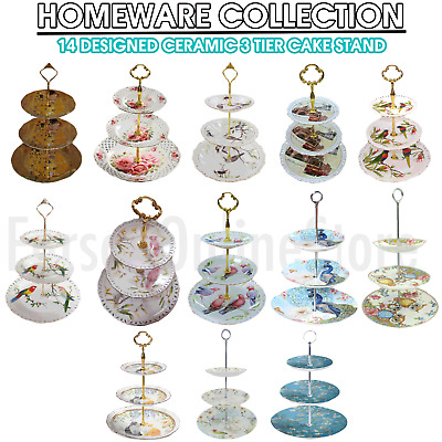 Ceramic Fine Bone China 3 Tier Cake Stand Cupcake Tableware Party Home Decor NEW